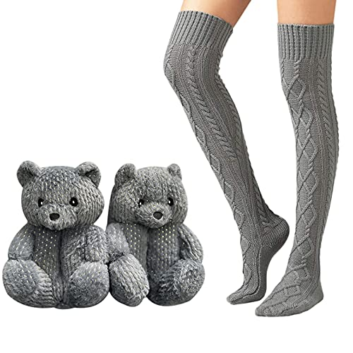 Teddy Bears Slippers Animal and Cable Knitted Thigh High Boot Socks (B)