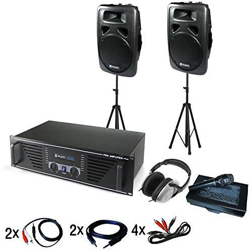 DJ-Anlage Tokyo Boxen - DJ-Set, Musikanlage, Lautsprecher-Set, Stativ, inkl. Mikrofon, Kopfhörer und Kabelset, 600 W 2-Wege-Box, RMS, 1000W Verstärker, für bis zu 200 Leute, schwarz