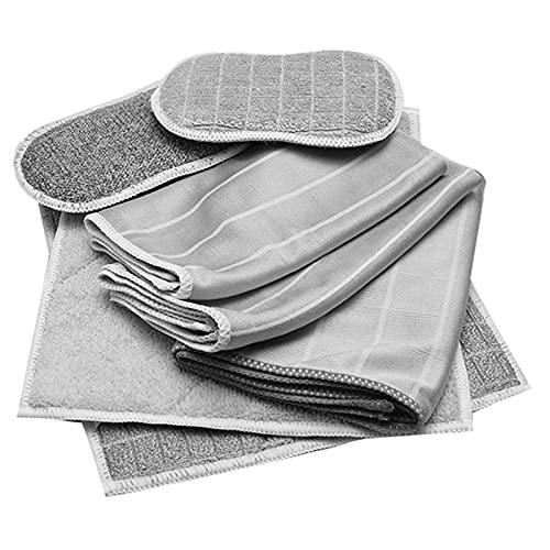 Bambusfaser Reinigungstücher - 8er Set in grau - Spül- und Wischtuch, Poliertuch, Trockentuch, Spülschwamm IStreifenfrei, Fusselfrei, extrem Saugstark, NachhaltigI Fenster, Küche, Haushalt, AutoI
