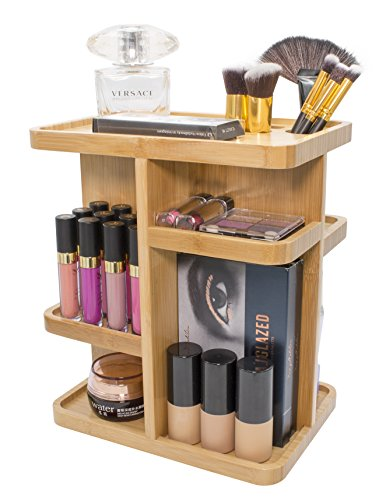 Sorbus 360° Bamboo Cosmetic Organizer, Multi-Function Storage Carousel for Makeup, Toiletries, and More — Great for Vanity, Desk, Bathroom, Bedroom, Closet, Kitchen (Bamboo)