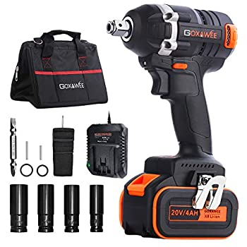 Cordless Impact Wrench - GOXAWEE 20V Electric Impact Driver  4.0Ah Battery Brushless Motor 1/2 & 1/4 Inch Quick Chuck 2-Speed Tool Bag  - High Torque Impact Kit for Home and DIY Project