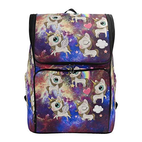 Wasserdichte Schultasche für Mädchen und Jungen, Galaxie, Nebel, Himmel, Einhorn, Regenbogen