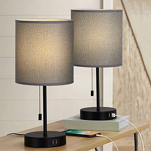 Bedside Table Lamps, Modern Nightstand Lamps Set of 2 with Dual USB Charging Ports, Desk Lamps with Gray Cylindrical Lamp Shade for Bedroom Living Room Study Room Office