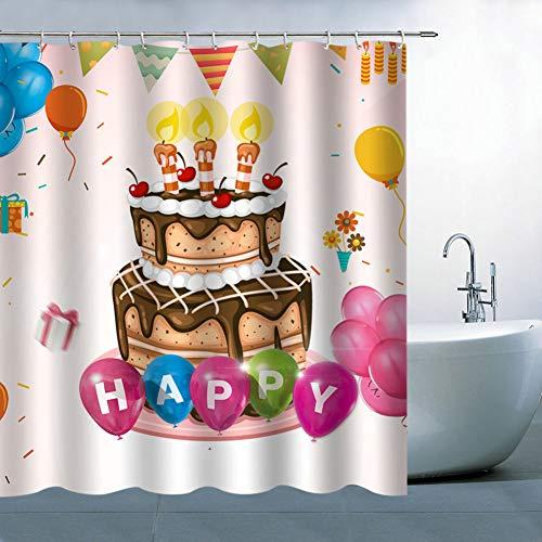 N/O NELTEG Duschvorhang Alles Gute zum Geburtstag Duschvorhänge Badezimmer Wasserdichter 3D-Druck Party Badvorhang Polyester Stoff mit 12 Haken
