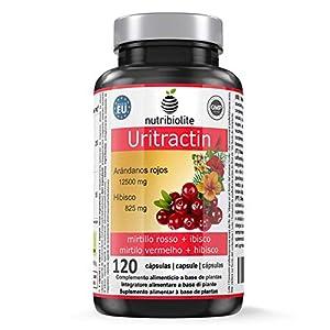 Nutribiolite Uritractin - Extractos de arándano rojo 12500 mg + Flor de hibisco 825 mg. Para un tracto urinario sano. 120 capsulas. Vegano, Sin gluten, lactosa o alérgenos. No OGM