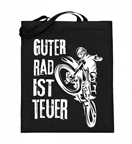 ALBASPIRIT Hochwertiger Jutebeutel (mit langen Henkeln) - Motocross T-Shirt Guter Rad Ist Teuer Cross Motorrad Biker Enduro Motocrosser Geschenk