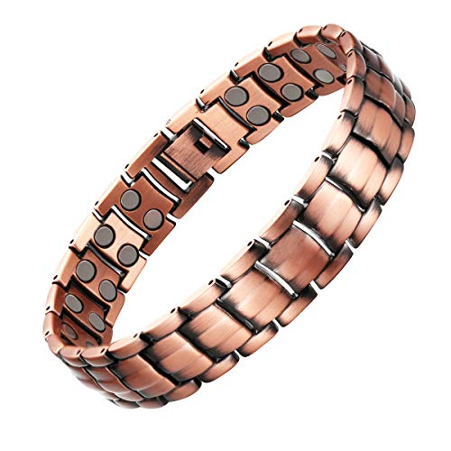"""Copper and Magnetic Bracelet for Men Large Copper Bracelet 8.5"""" Adjustable Pain Relief for Arthritis and Carpal Tunnel Migraines Tennis Elbow"""