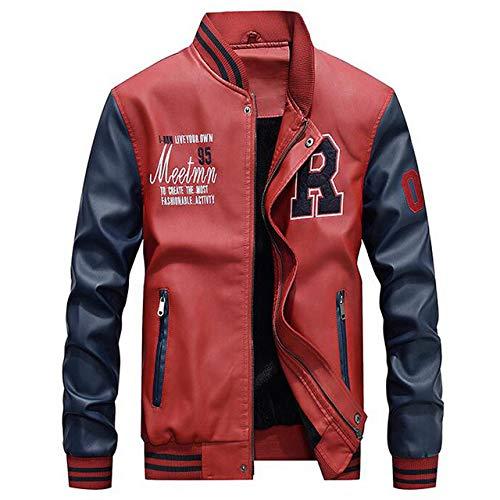 HNOSD Nuevo 2019 Chaquetas de béisbol Bordadas Chaqueta de Cuero de Menfaux Hombre Casual de Lujo Fleece Pilot Letter Stand Bomber Coat Red 4XL