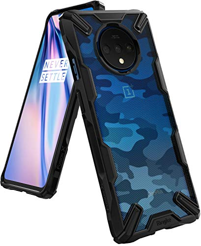 Ringke Fusion-X Designed for OnePlus 7T Case Back Cover, [Military Drop Tested] Ergonomic PC Back TPU Bumper Impact Resistant Protection for OnePlus 7T Back Cover Case (2019) - Camo Black