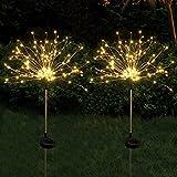 MRZJ 2 lámparas solares para exteriores de jardín, 150 luces LED de alambre de cobre, resistentes a la intemperie, para jardín, balcón, césped, campo, terraza, camino (blanco cálido)