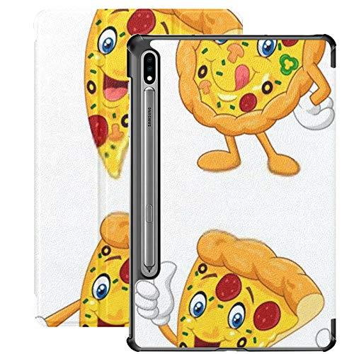 Funda Galaxy Tablet S7 Plus de 12,4 Pulgadas 2020 con Soporte para bolígrafo S, Juego de colección de Pizza Divertida de Dibujos Animados Funda Protectora Delgada con Soporte para Samsung
