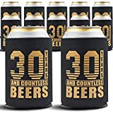 Happy 30th Birthday Decorations for Him, Dirty Thirty Birthday Beverage Can Cooler Sleeves, Insulated Holder Gift Ideas and Party Favors for Men, 12-Pack, Black & Gold