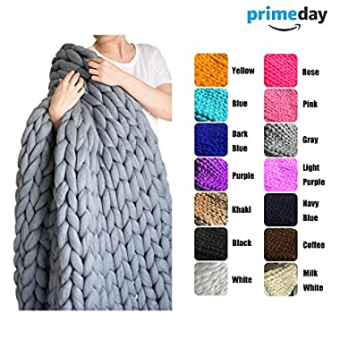 EASTSURE Bulky Knit Throw Chunky Sofa Blanket Hand-made Super Large Pet Bed Chair Mat Rug Grey 40 x79