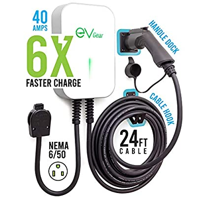 EV Gear Charging Station, Level 2 40 AMP/240v EV Charger, Electric Vehicle Charger Station, Compatible with All Electric Vehicles, 24 Foot Cable, Dock Handle