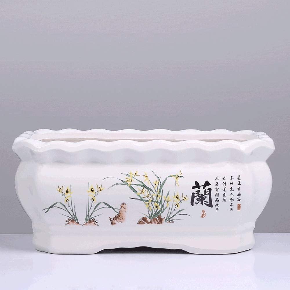 TEAYASON Rectangular Flower Pot Ceramic Belt Me Excellent Extra Sales results No. 1 Large Tray