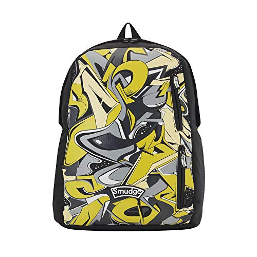Smudge Stationery Boys Backpack - Cool Graffiti Style Yellow and Black'Live Loudly' Boys School Bag