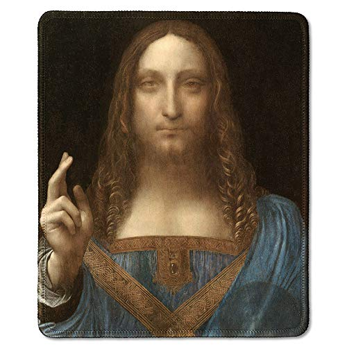 dealzEpic - Art Mousepad - Natural Rubber Mouse Pad with Famous Fine Art Painting of Jesus Christ as Salvator Mundi by Leonardo da Vinci - Stitched Edges - 9.5x7.9 inches