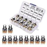 ALAMSCN 10PCS Potentiometer Kit 1K-1M Ohm for Arduino Single Linear Taper Rotary Potentiometers Pots Resistor with Knobs (B1K, B2K, B5K, B10K, B20K, B50K, B100K, B250K, B500K, B1M)