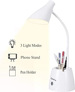 Desk Lamp, Desk Light with 3 Color Modes, Dimmable and Eye-Caring, Led Desk Lamp with USB Charging Port, Pen Holder and Phone Stand, 360° Flexible Study Lamp for Bedroom and Office