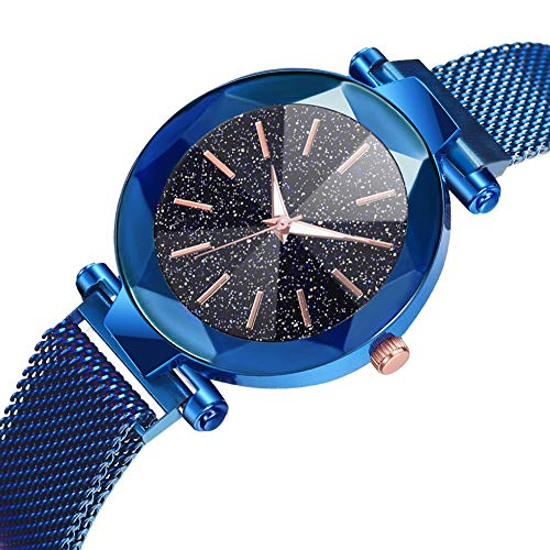 LJJOZ Moda Mujeres Reloj De Pulsera De Cuarzo Botón De Imán Correa De Malla Reloj De Pulsera Aleación De Marcación Redonda (Azul)