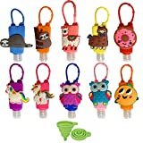DARUNAXY Mini 30ml Assorted Silicone Bottles Holder Detachable Kids Cartoon Travel Portable Plastic Leak Proof Bottles Keychain Carriers-Random Colors/Without Liquid(10 Pack)