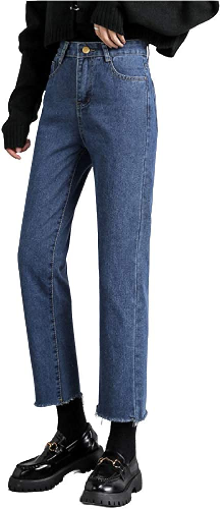 Women's Autumn High Waist Mesa Mall Dallas Mall Casual Loose Straight Solid Colo Jeans