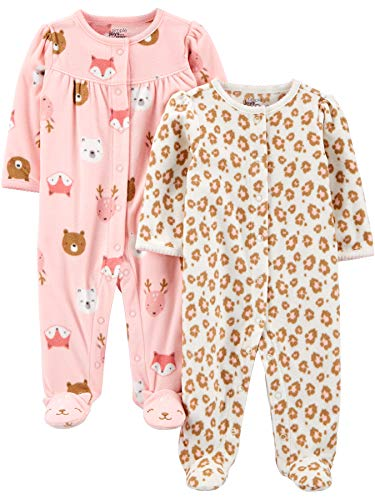 Simple Joys by Carter's 2-Pack Fleece Footed Sleep Play Infant-and-Toddler-Sleepers, Animal- / Gepardenmuster, 3-6 Monate, 2er-Pack