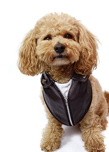 Tail Trends Motorcycle Leather Jacket Dog Bandana (L)