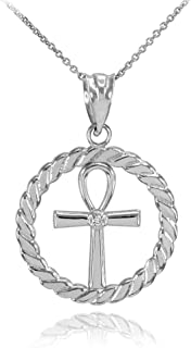 10k White Gold Roped Circle Egyptian Ankh Cross with Diamond Pendant Necklace