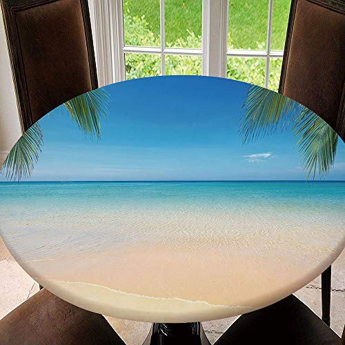 SUPNON Elastic Edged Waterproof Table Cover Tablecloths Kitchen Decor, Fits for Round Tables - Sea View Tropical Beach with Sunny Sky Tablecloth Size 40'(Fit for 28.2'-32.1' Table)