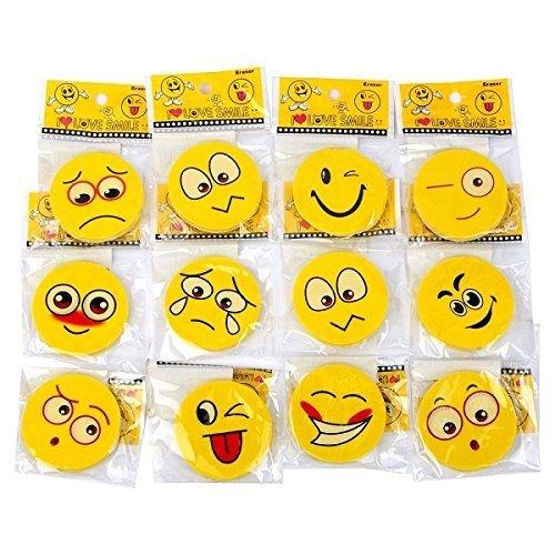 Schramm® 24 Pezzi di gomme Smiley Smiley ca. 4,5 cm Gomma Gomma Gomma Gomma Tombola Forniture Scolastiche Mitgebsel Compleanno dei Bambini