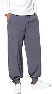 Creazrise Men's Drawstring Beach Pant Summer Cotton Linen Loose Yoga Jogger Pants