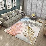 Tappeti semplice europeo europeo modello piume tappeti rettangolari di lusso europeo tappeto camera da letto tappeto moderno minimalista in velluto stampato breve tappezzeria computer YM03 80*120CM