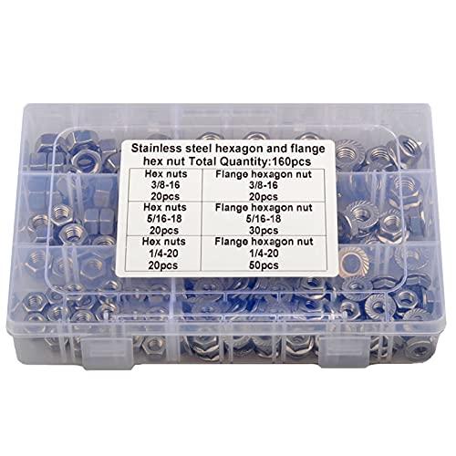 Tuercas de brida con inserto de tuercas hexagonales de bloqueo, 160 piezas de tuercas de brida dentadas de acero inoxidable 304 para sujetadores industriales y de construcción