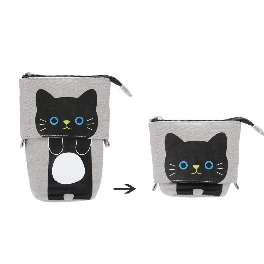 Gaddrt - Estuche para lápices, diseño de gato con dibujos de dibujos animados, color D: Amazon.es: Oficina y papelería