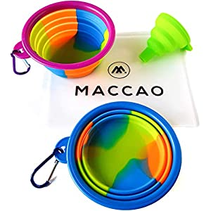 MACCAO – Juego de 2 comederos de Viaje para Perros, de Silicona, Plegables, para Perros y Gatos, Ideal para Viajes, comedero, Bebedero de Agua, Plegable, Bolsa para Llevar + Embudo para Ahorrar Agua 4