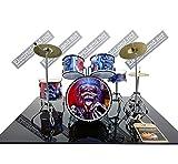 Mini Drum Kit Iron Maiden Eddie Tribute Miniature Rock 25 cm Model Escaleras 1:4 Collectible Box Set batería Maqueta de colección