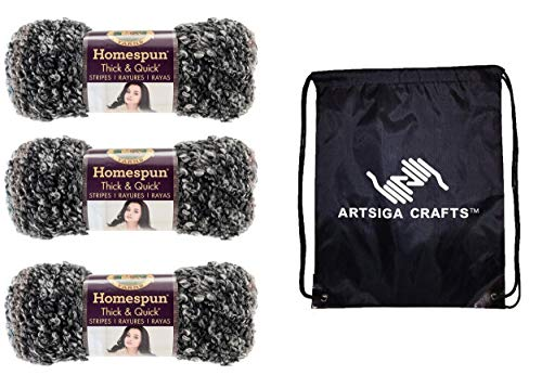 Lion Brand Knitting Yarn Homespun Thick and Quick Midnight Stripes 3-Skein Factory Pack (Same Dye Lot) 792-238 Bundle with 1 Artsiga Crafts Project Bag -  MPN-792-238