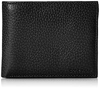 Cole Haan Men's Pebble Leather Bifold Wallet with Passcase, Black, One Size