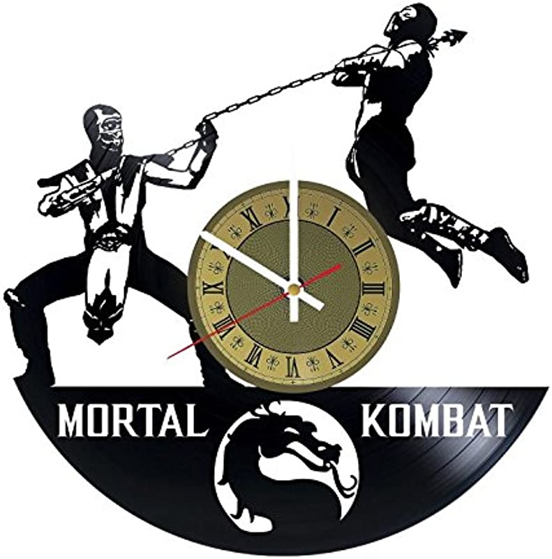 Pieceful Mortal Kombat Vinyl Record Wall Clock Artwork Gift Idea For Birthday Christmas Women Men Friends Girlfriend Boyfriend And Teens Living Kids Room Nursery Gold Black Gold White