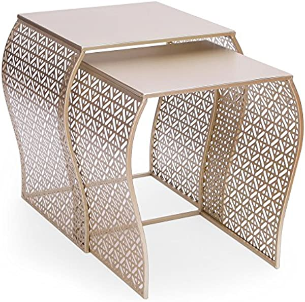Decent Home Luxury Stool Coffee Accent Metal Nesting Side End Table Night Stand Set Of 2 13