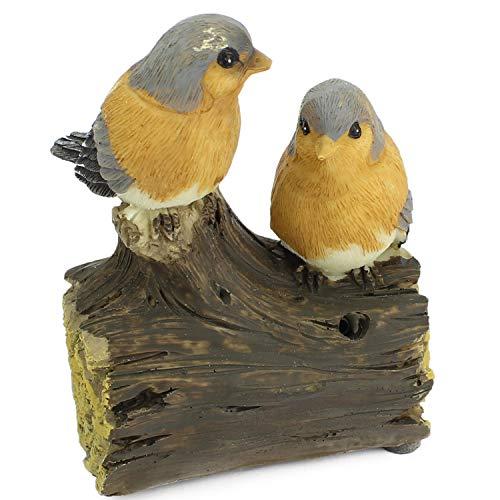 Mabax Haus & Garten Vogel Bewegungsmelder | Vögel Paar Duo | Bewegungssensor & Vogelgezwitscher Alarm (Grau/Gelb)