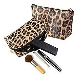 Neceser de maquillaje con estampado de leopardo para pintalabios, bolsa de aseo, neceser de viaje y organizador de brochas de maquillaje, bolso de mano, 2 unidades, para mujeres y niñas