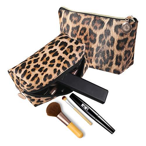 Neceser de maquillaje con estampado de leopardo para pintalabios, bolsa de aseo,...