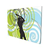 Sports Decor Baseball Player Figure with Rounds and Circles on His Bat Wild Pitch Fast Win Do It Green Blue Black Painting Premium Panoramic Canvas Wall Art Painting 12'X 16'