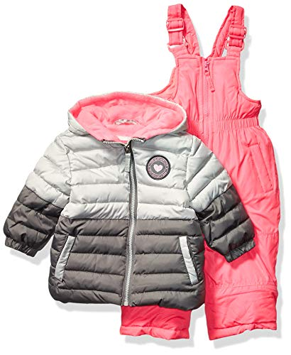 Pink Platinum Girls' Little Insulated Two-Piece Snowsuit, Charcoal Block, 4