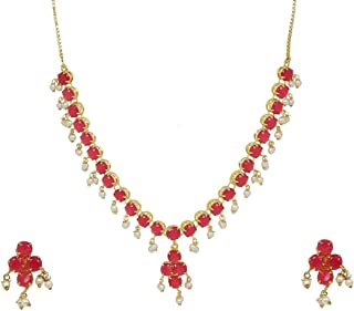 Efulgenz Indian Jewelry Cubic Zirconia CZ Crystal Choker Necklace Earrings Set for Women Girls