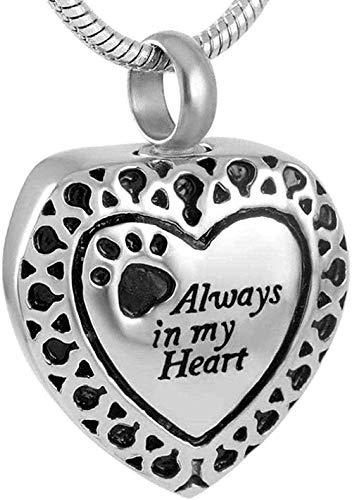 Collar Moda Petpendant Perro/Gato Paw Joyas Acero Inoxidable Ash Recuerdo Collar Colgante Collar Regalo para Hombres Mujeres Niñas Niños
