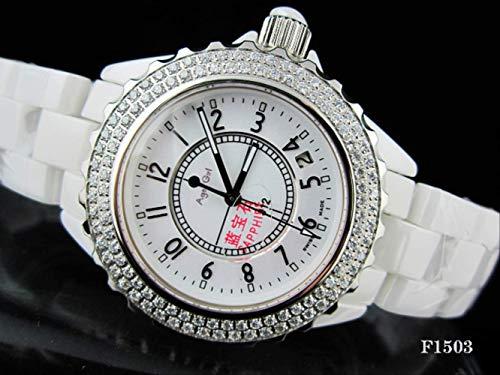 LKYH Klassische Armbanduhr Keramik 2 Reihen Diamant Lünette Damenuhren Herren Damen Keramik Mode Weiß Schwarz Strass QuarzuhrDamen Diamant Num