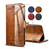 SCDMY Leather Case for Oppo Reno 2Z Case + Tempered Glass
